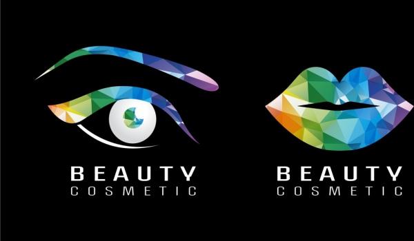Beauty cosmetic logotype colorful polygonal eye lip icons