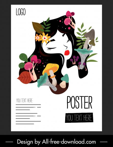beauty poster lady face sketch plants decor