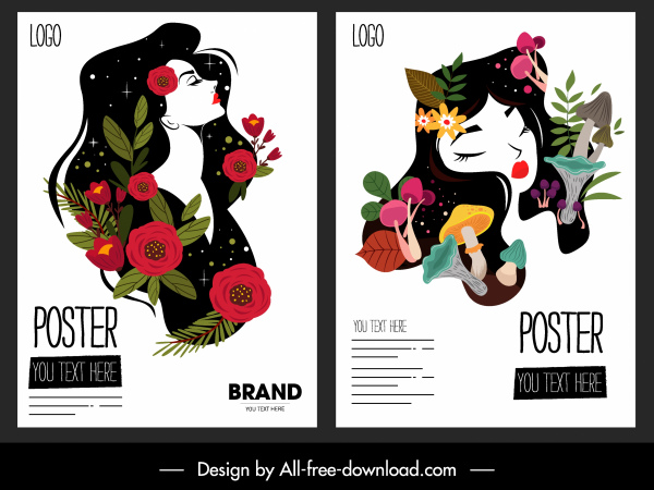 beauty poster templates colorful classical handdrawn lady sketch