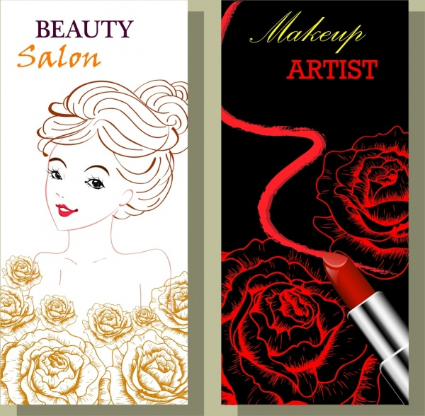 beauty salon advertisement sets yellow red roses ornament