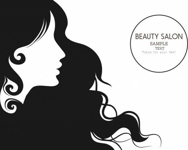 beauty salon advertisment black white design woman ornament