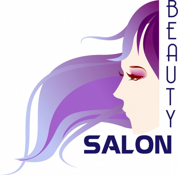 beauty salon banner colored woman icon ornament