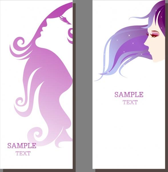 Beauty Salon Banner Sets Beautyful Girl Ornament Free Vector In