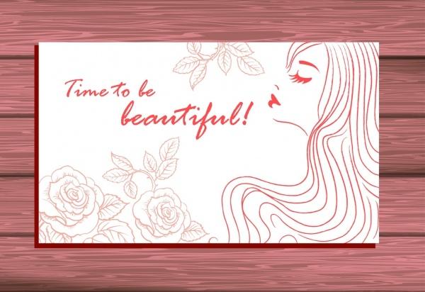 beauty salon card cover beautiful woman rose sketch