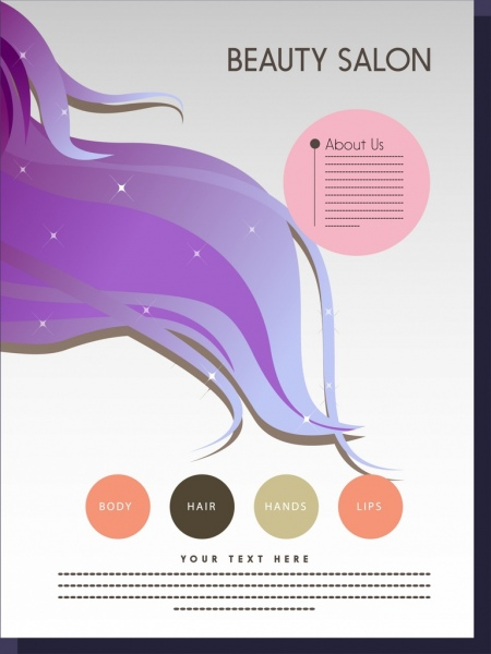 beauty salon infographic brochure violet hair colored circles