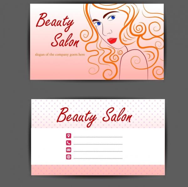 beauty salon name card template beautiful woman sketch