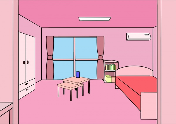 Bedroom Decoration Vector Illustration With Pink