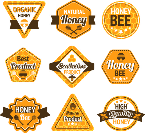 Bee Honey Labels Retro Design Vector Free Vector In Adobe