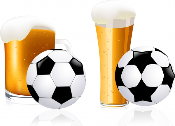 beer advertising background glass ball icons colored modern