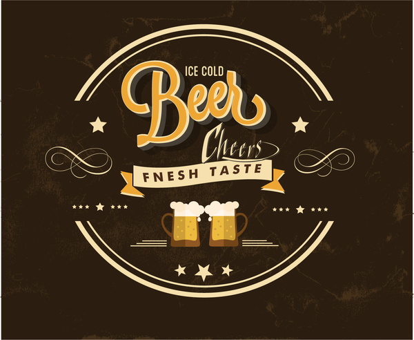beer bar label design on dark background