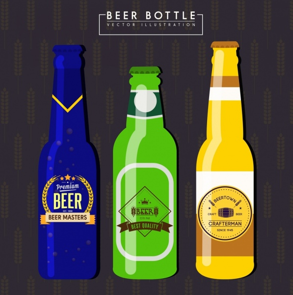 beer bottle icons shiny colored design