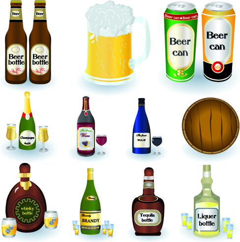 beer cans and beer bottles vector