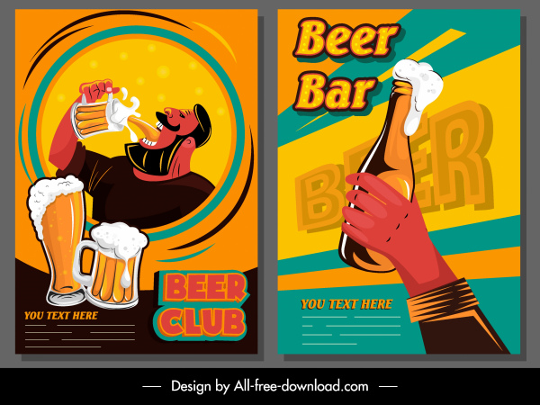 beer club posters colorful classical design