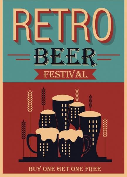 beer festival banner dark retro design