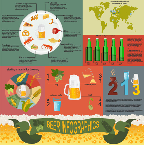 beer infographic business template vector