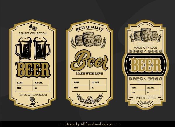 beer label templates retro design glass barrel sketch