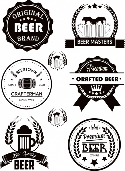 beer labels collection classical black white decor