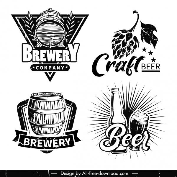 beer logotypes black white retro elements sketch