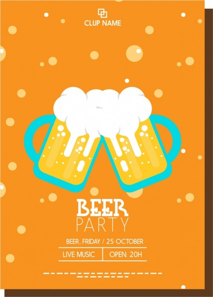 Beer Party Poster Glasses Decoration Bubble Up