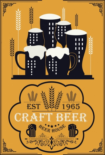 beer promotion banner classical decor black glass icons