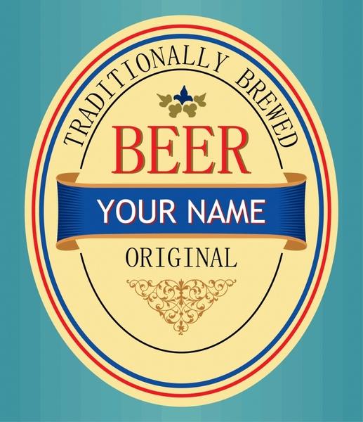 beer label template bright colorful elegant decor