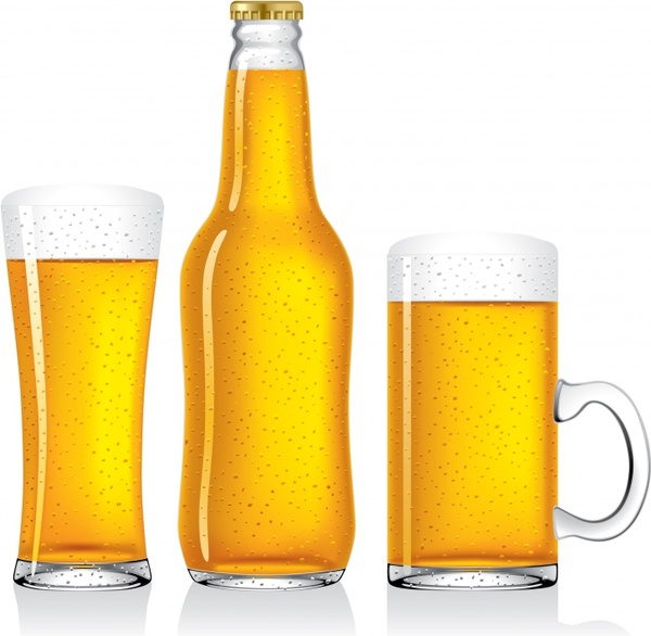 beer advertisement bottle glass icons colored modern design
