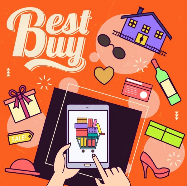 best buy banner smartphone hand goods icons decor