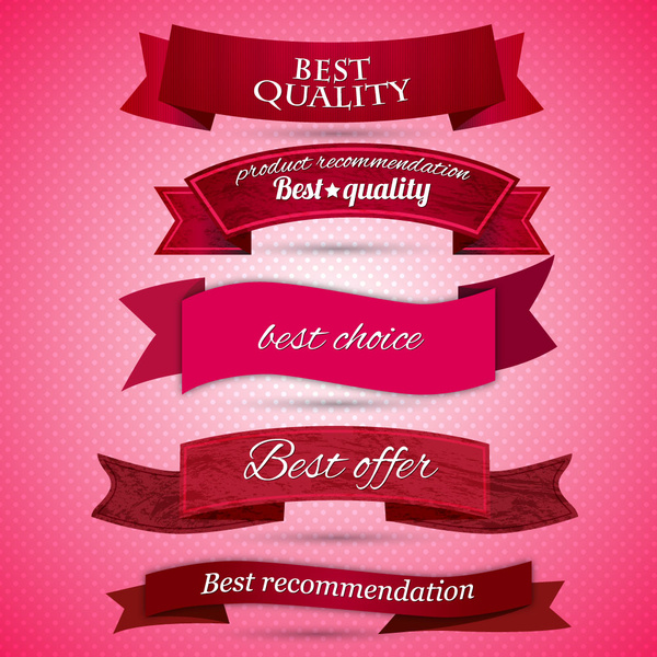 best quality red ribbon banner set
