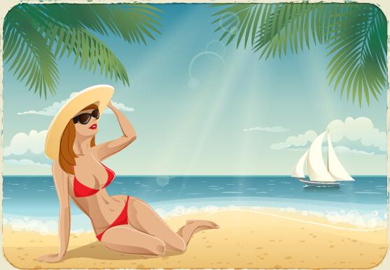 best summer holiday beach vector background