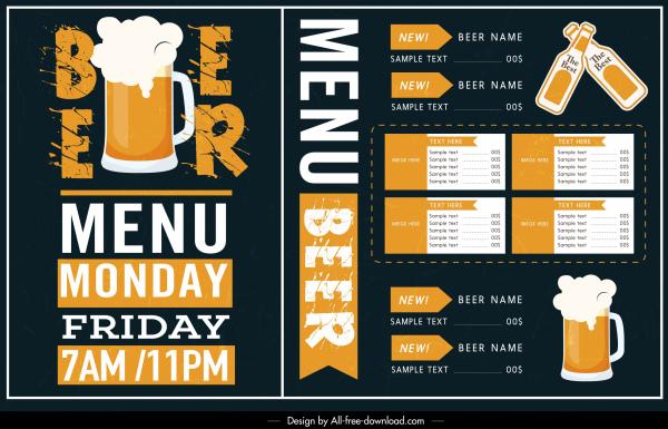 beverage menu template classical contrasted flat decor
