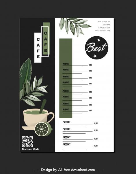 beverage menu template elegant contrast leaves decor