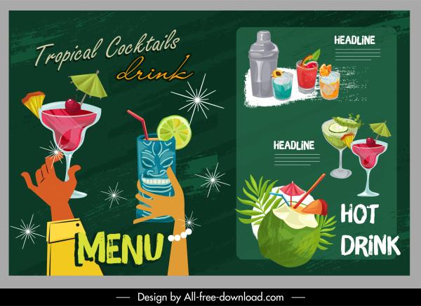 beverages menu templates colorful sparkling retro design