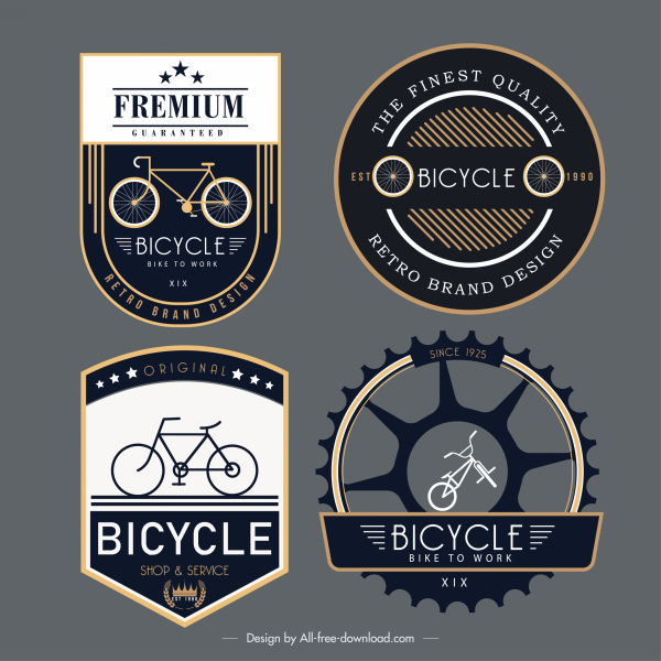 Bicycle label templates elegant dark flat decor Free vector