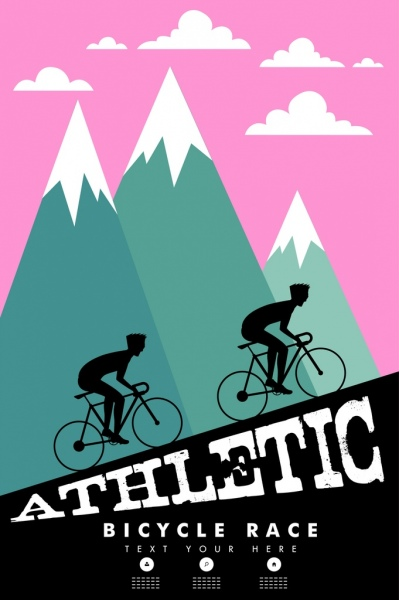 bicycle race banner cyclist silhouette steep mountain decor