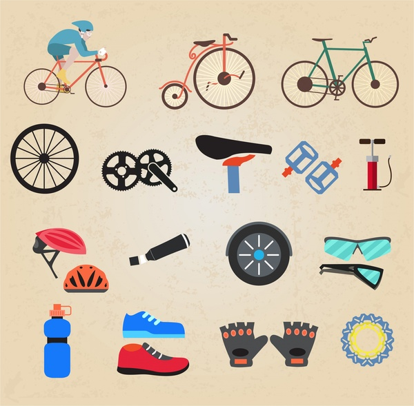 bicycle sports icons illustration in various accessories