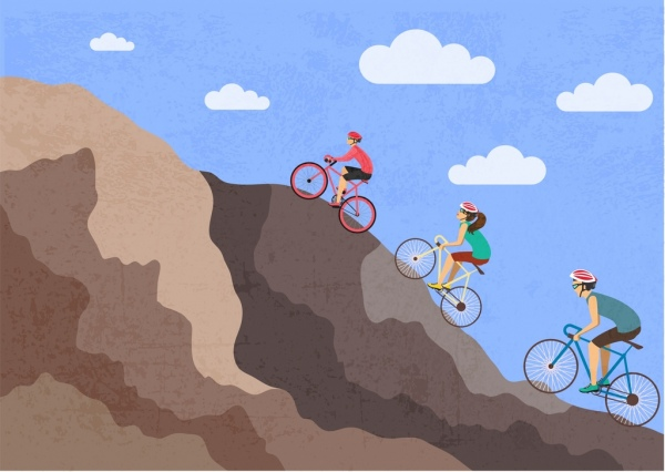 bicycle sports theme human mount icons colored cartoon