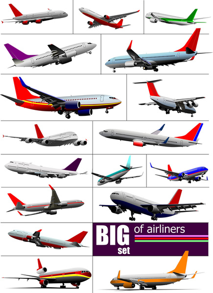 Big airplanes model set vector Free vector in Encapsulated