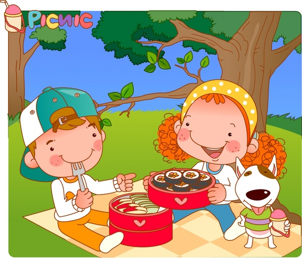 childhood painting picnic theme cute cartoon characters sketch