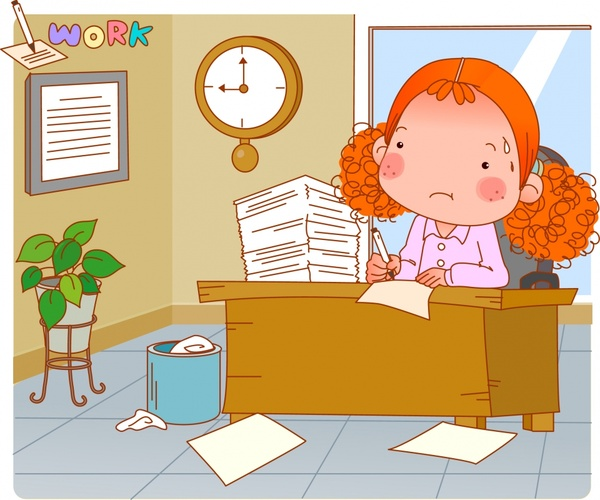 office work painting lady workdesk icons cartoon sketch