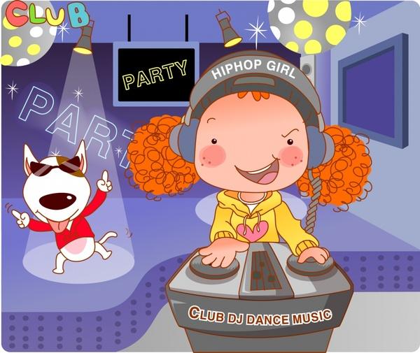 lifestyle painting music club party theme cartoon design