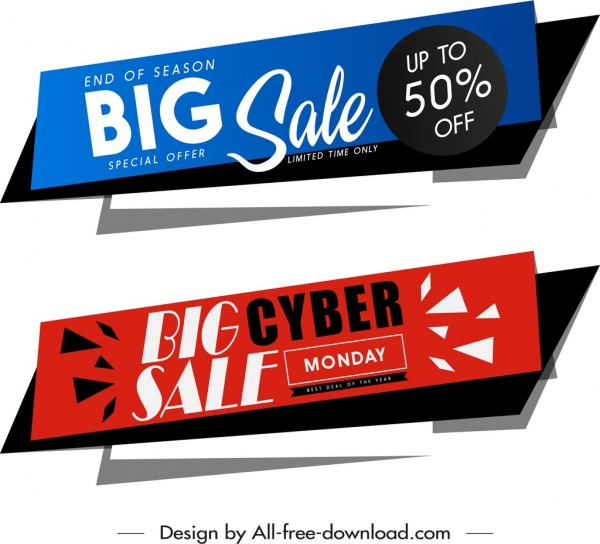 big sale banners modern horizontal red blue decor