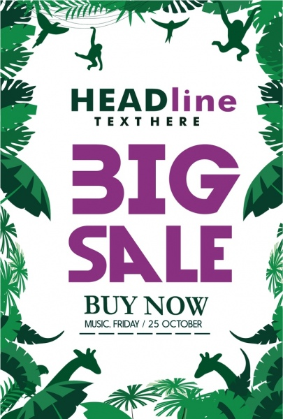 big sales poster jungle style tree animals decoration
