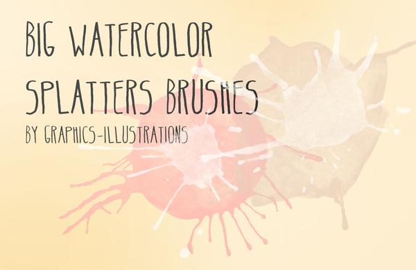 big watercolor splatters photoshop brushes