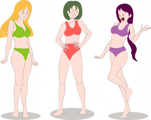 bikini girls icons colored cartoon characters