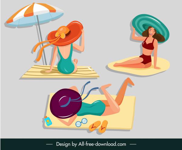 bikini girls icons colored cartoon sketch