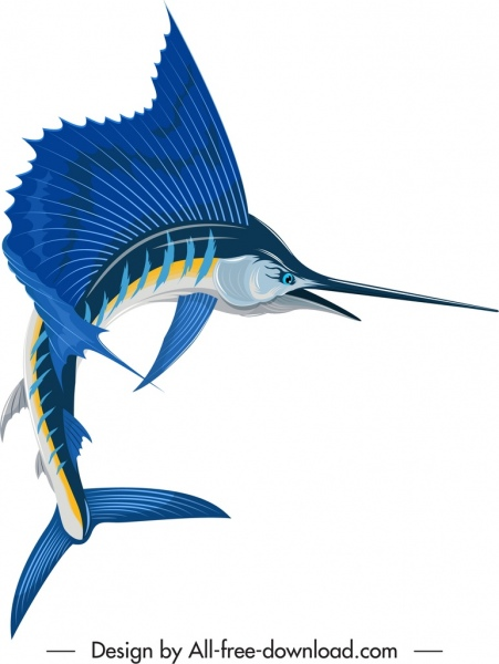 bill fish icon motion sketch colorful 3d design