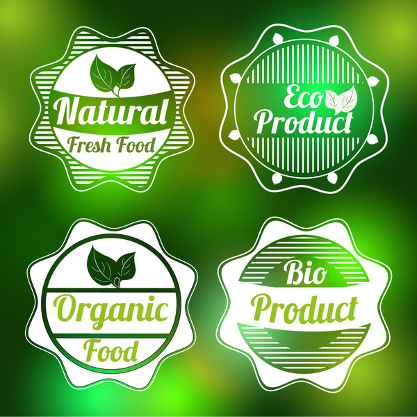 bio product labels sets on bokeh background