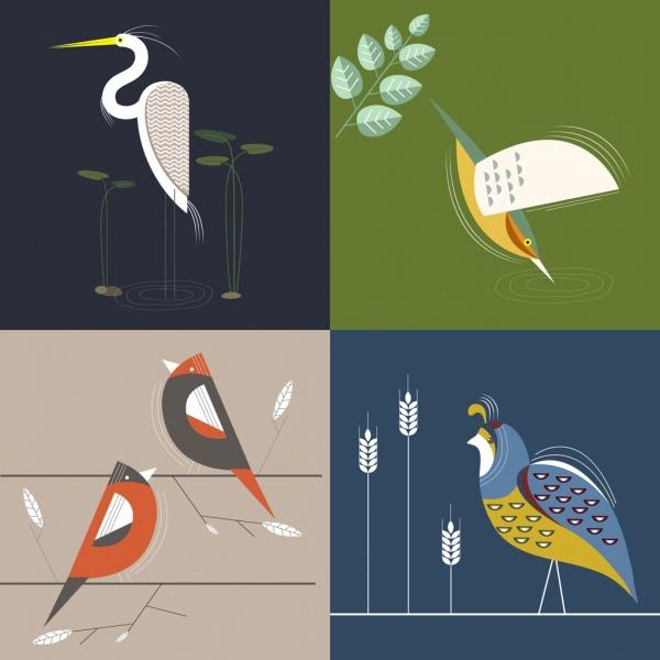 bird background sets classical flat decor