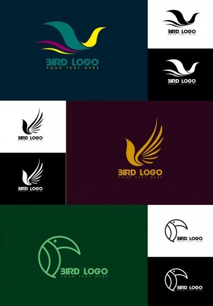 bird logo collection various shapes isolation dark design