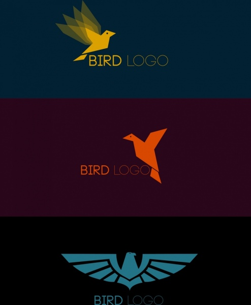 bird logo sets dark colored flat design